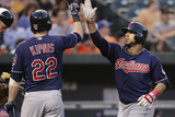 Baltimore, MD - June 27: Mike Aviles and Jason Kipnis Photographic Print