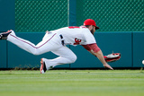 Washington, DC - July 05: Left fielder Bryce Harper and Chris Denorfia Photographic Print