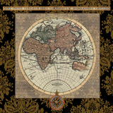 Damask on Black Map I Posters by Elizabeth Medley