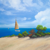 Sailboat on Coast I Print by Vivien Rhyan