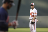 Baltimore, MD - June 27: Starting pitcher Miguel Gonzalez and Mike Aviles Photographic Print