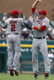 Detroit, MI - June 27: Erick Aybar and Mike Trout Photographic Print