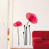 Transparent Pink Poppy Wall Decal