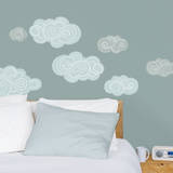 Gray & Blue Clouds Wall Decals Wall Decal