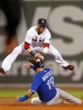 Boston, MA - June 27: Dustin Pedroia and Jose Bautista Fotografisk tryk
