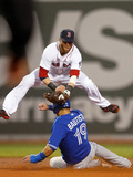 Boston, MA - June 27: Dustin Pedroia and Jose Bautista Photographic Print