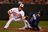 Baltimore, MD - April 17: Shortstop J.J. Hardy and Kelly Johnson Photographic Print