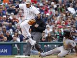 Detroit, MI - May 27: Third baseman Miguel Cabrera and Andrew McCutchen Photographic Print