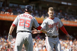 San Francisco, CA - May 22: Bryce Harper, Adam LaRoche and Ian Desmond Photographic Print