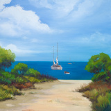 Sailboat on Coast II Art by Vivien Rhyan