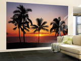 Hawaiian Palm Tree Sunset Wall Mural
