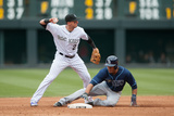 Denver, CO - May 5: Troy Tulowitzki and Desmond Jennings Photographic Print