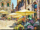 Siena Flower Market Stretched Canvas Print by Howard Behrens