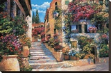 Riviera Stairs Stretched Canvas Print by Howard Behrens