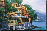 Portofino Villa Stretched Canvas Print by Howard Behrens