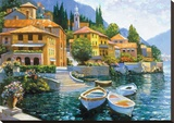 Lake Como Landing Stretched Canvas Print by Howard Behrens