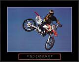 Confidence Motorbiker in Air Motivational Posters
