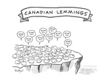 Canadian Lemmings - New Yorker Cartoon Premium Giclee Print by Robert Leighton