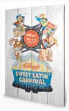 Vintage Kelloggs - Sweet Eatin' Carnival Wood Sign Wood Sign