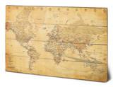 World Map (Vintage Style) Wood Sign Panneau en bois