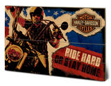 Harley Davidson - Ride Hard Wood Sign Panneau en bois