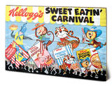 Vintage Kelloggs - Sweet Eatin' Carnival Land Wood Sign Cartel de madera
