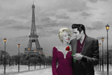 Paris Sunset (Marilyn Monroe and Elvis Presley) by Chris Consani Poster