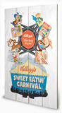 Vintage Kelloggs - Sweet Eatin' Carnival Wood Sign Cartel de madera