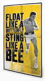 Muhammad Ali - Float Like A Butterfly Wood Sign Cartel de madera