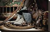 TC's Boots and Yuma Spurs (color) Stretched Canvas Print by Barry Hart