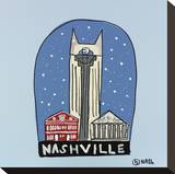 Nashville Snow Globe Stretched Canvas Print by Brian Nash