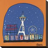 Seattle Snow Globe Stretched Canvas Print by Brian Nash