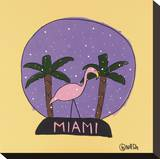 Miami Snow Globe Stretched Canvas Print by Brian Nash