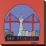 San Francisco Snow Globe Stretched Canvas Print by Brian Nash