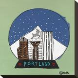 Portland Snow Globe Stretched Canvas Print by Brian Nash