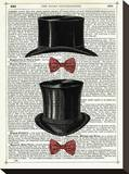 Top Hat & Bow Ties Stretched Canvas Print by Marion Mcconaghie