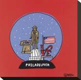 Philadelphia Snow Globe Stretched Canvas Print by Brian Nash