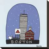 Boston Snow Globe Stretched Canvas Print by Brian Nash