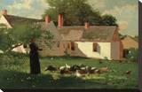 Farmyard Scene, c. 1874 Reproduction transférée sur toile par Winslow Homer