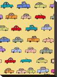 Cars Yellow Stretched Canvas Print by Brian Nash
