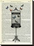 Bird Cage & Butterflies Stretched Canvas Print by Marion Mcconaghie