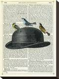 Bowler Hat with Birds Stretched Canvas Print by Marion Mcconaghie