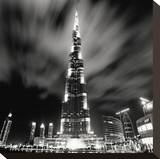 Burj Kahlifa at Night, Study 1, Dubai, UAE Stretched Canvas Print by Marcin Stawiarz