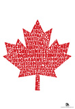 O Canada Lyrics Maple Leaf Poster Print