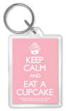 Keep Calm And Eat A Cupcake Acrylic Keychain Keychain