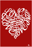 Love Heart Cursive Text Poster Print
