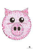 Pig Oink Text Poster Poster