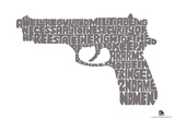 Second Amendment Gun Text (white) Poster Prints