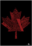 Canada Provinces Maple Leaf Text Poster Posters