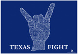 Texas Fight Song (Blue) Text Poster Prints